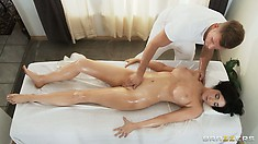 Hot brunette calls for a massage and gets her ex rubbing her ass and puss