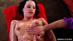 Hot brunette Fanny gets her sexy body oiled up and ready for action