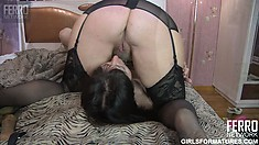Naughty brunette milfs Meggy and Mireille taste each other's wet cunts on the bed