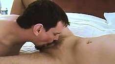 Chubby stranger goes down on a blonde slut's juicy ass and balls