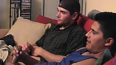 Two hot guys sit side by side on the couch and stroke their long dicks