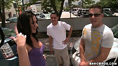 Jayden Jaymes is showing her tits to two guys in a dirty van