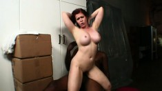 Incredibly hot Mae has giant titties and loves riding dark dick